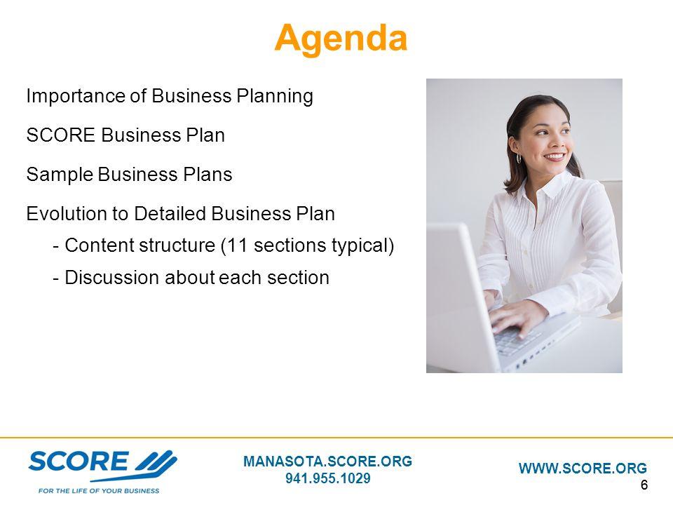 MANASOTA.SCORE.ORG 941.955.1029 WWW.SCORE.ORG 66 Agenda Importance of Business Planning SCORE Business Plan Sample Business Plans Evolution to Detaile