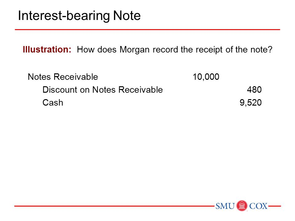 Illustration: How does Morgan record the receipt of the note.