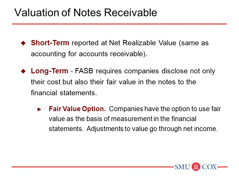  Short-Term reported at Net Realizable Value (same as accounting for accounts receivable).