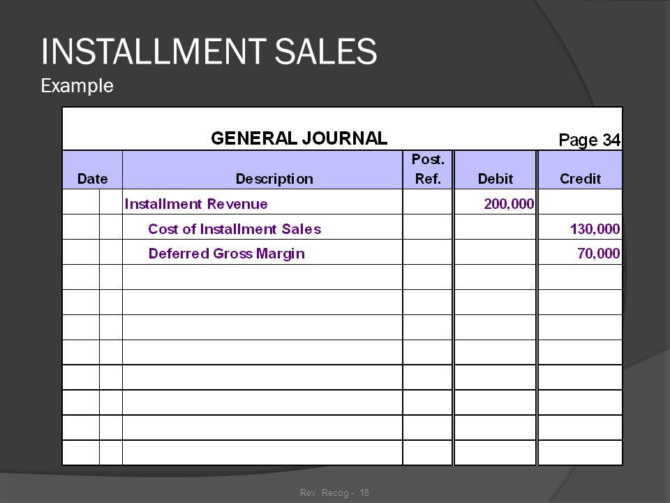 Rev. Recog - 17 INSTALLMENT SALES Example