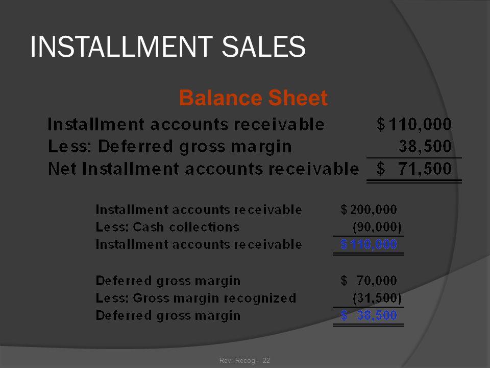 Rev. Recog - 21 INSTALLMENT SALES Balance Sheet