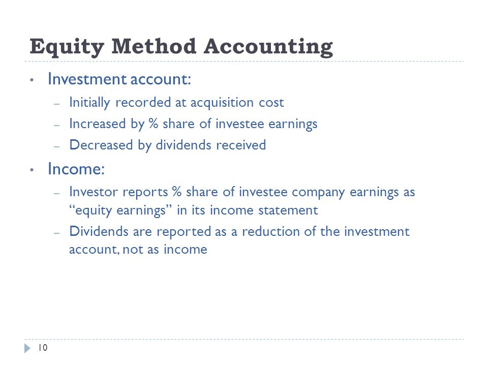 Equity Method Accounting Investment account: – Initially recorded at acquisition cost – Increased by % share of investee earnings – Decreased by divid