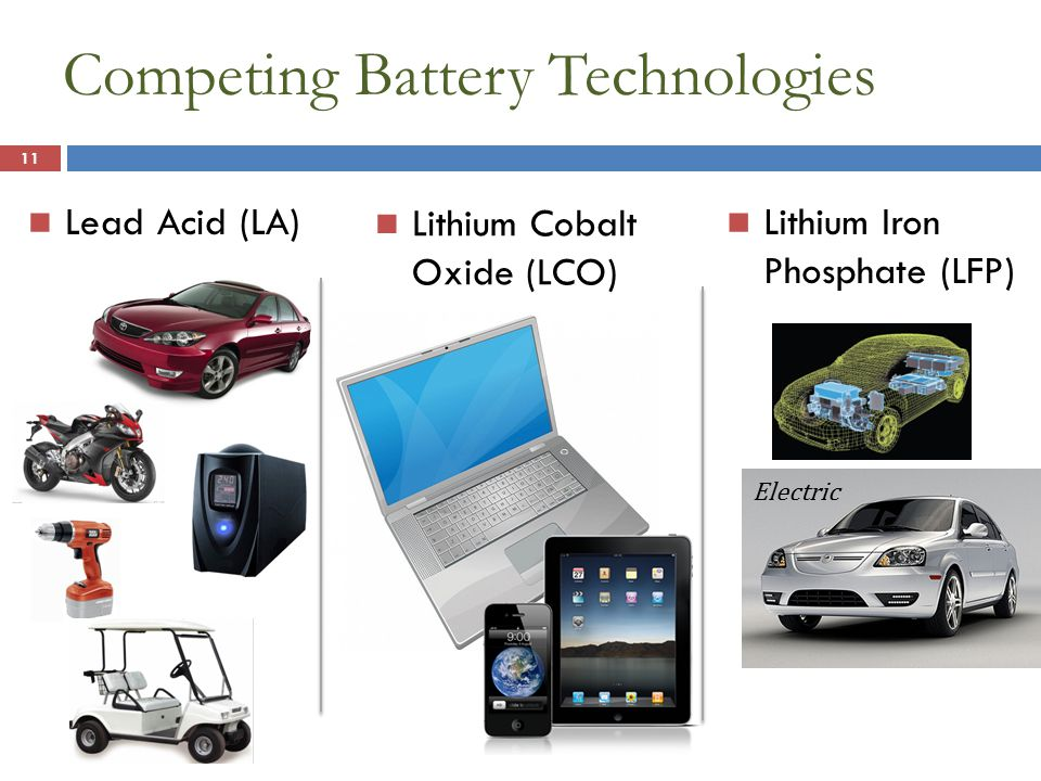 Competing Battery Technologies 11 Lead Acid (LA) Lithium Cobalt Oxide (LCO) Lithium Iron Phosphate (LFP) Electric