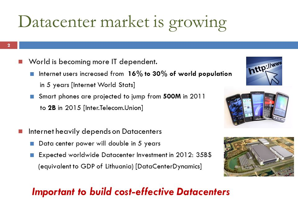 Datacenter market is growing World is becoming more IT dependent.