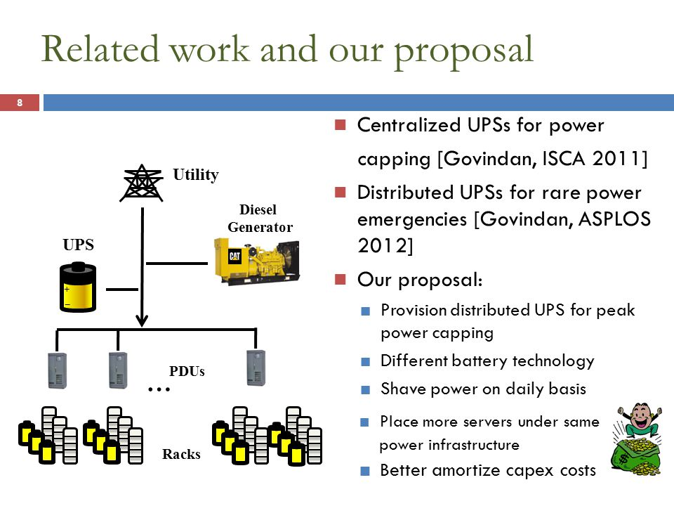 Place more servers under same power infrastructure Related work and our proposal Centralized UPSs for power capping [Govindan, ISCA 2011] Distributed UPSs for rare power emergencies [Govindan, ASPLOS 2012] Our proposal: Provision distributed UPS for peak power capping Different battery technology Shave power on daily basis 8 Utility … Diesel Generator PDUs Racks + _ + _ UPS Better amortize capex costs