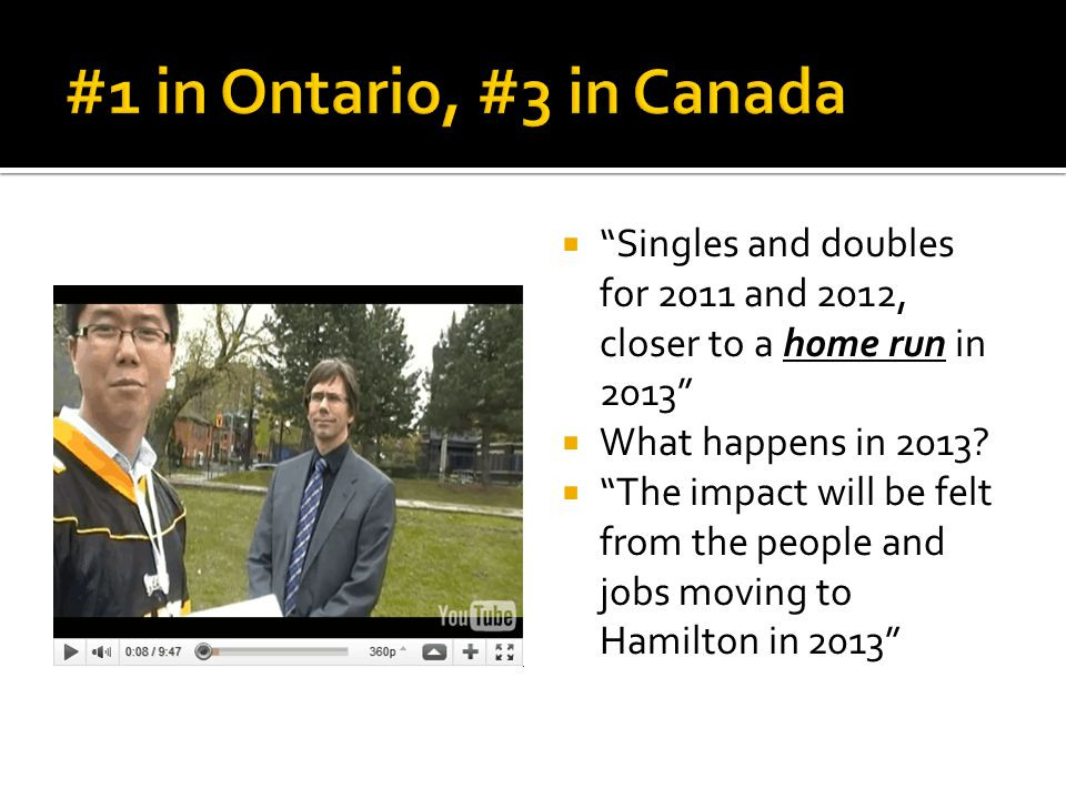 " ""Singles and doubles for 2011 and 2012, closer to a home run in 2013""  What happens in 2013?  ""The impact will be felt from the people and jobs mo"