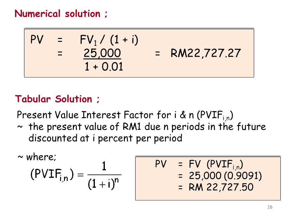 16 Numerical solution ; PV = FV 1 / (1 + i) = 25,000 = RM22,727.27 1 + 0.01 PV = FV 1 / (1 + i) = 25,000 = RM22,727.27 1 + 0.01 Tabular Solution ; Pre