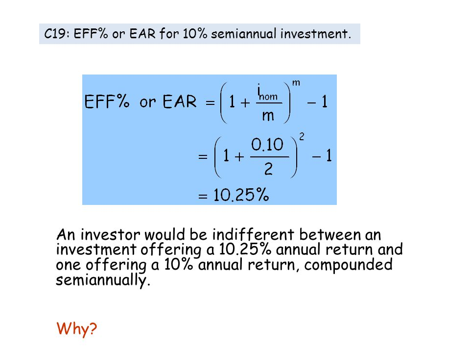 An investor would be indifferent between an investment offering a 10.25% annual return and one offering a 10% annual return, compounded semiannually.