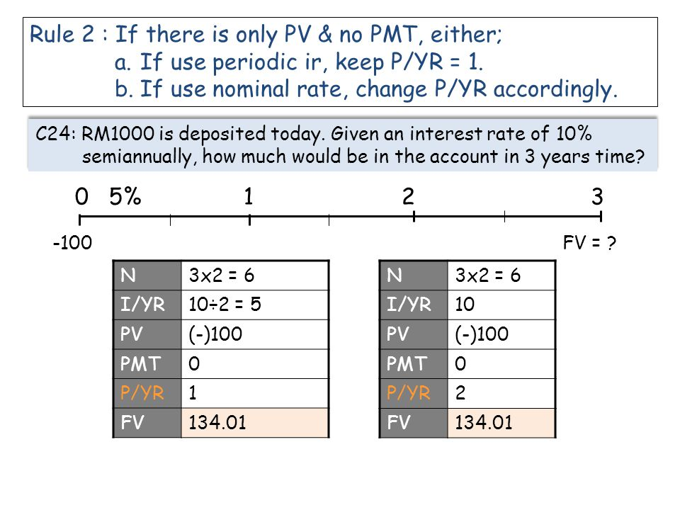 Rule 2 : If there is only PV & no PMT, either; a.If use periodic ir, keep P/YR = 1. b.If use nominal rate, change P/YR accordingly. C24: RM1000 is dep