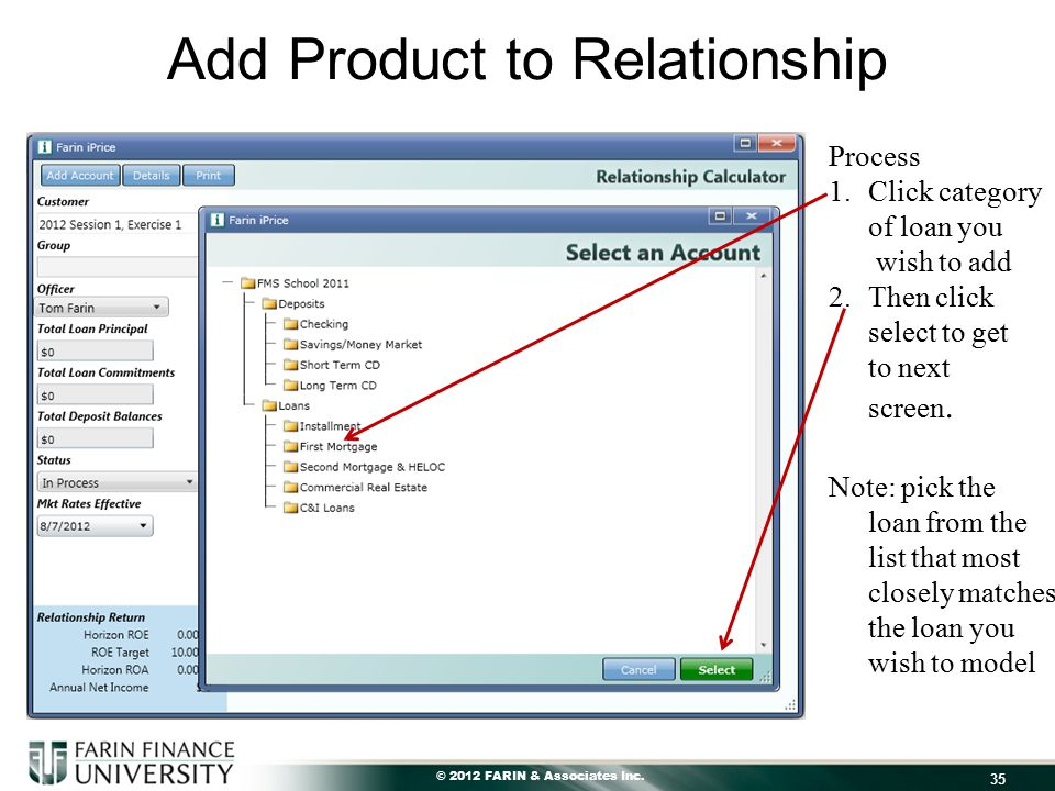 © 2012 FARIN & Associates Inc. Add Product to Relationship 35 Process 1.Click category of loan you wish to add 2.Then click select to get to next scre