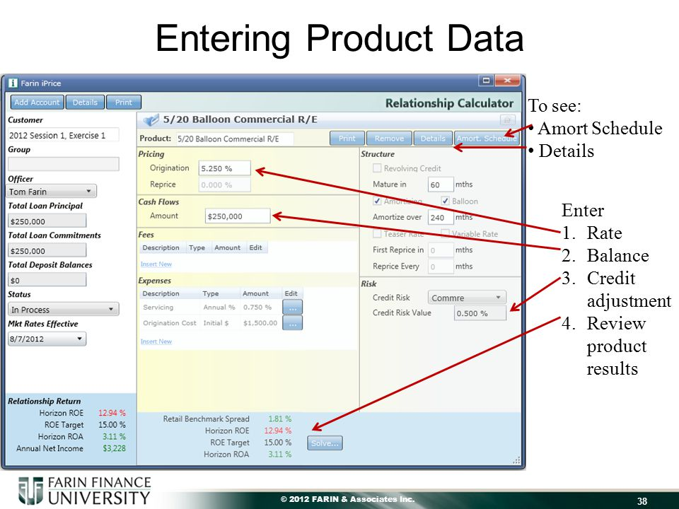 © 2012 FARIN & Associates Inc. Entering Product Data 38 Enter 1.Rate 2.Balance 3.Credit adjustment 4.Review product results To see: Amort Schedule Det