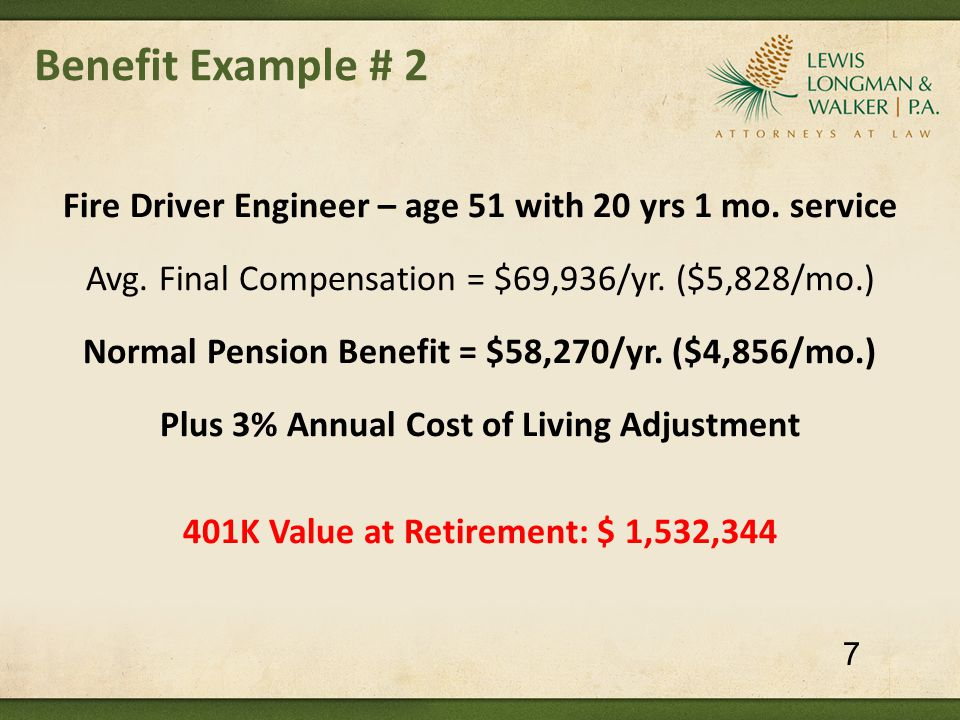 Benefit Example # 2 Fire Driver Engineer – age 51 with 20 yrs 1 mo.