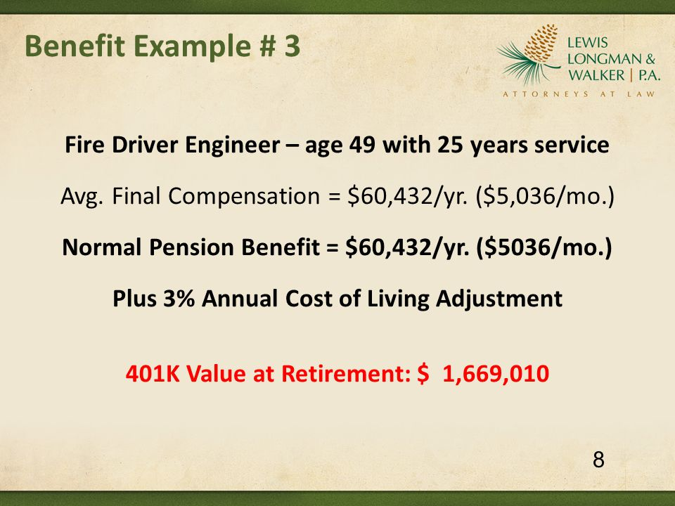 Benefit Example # 3 Fire Driver Engineer – age 49 with 25 years service Avg.