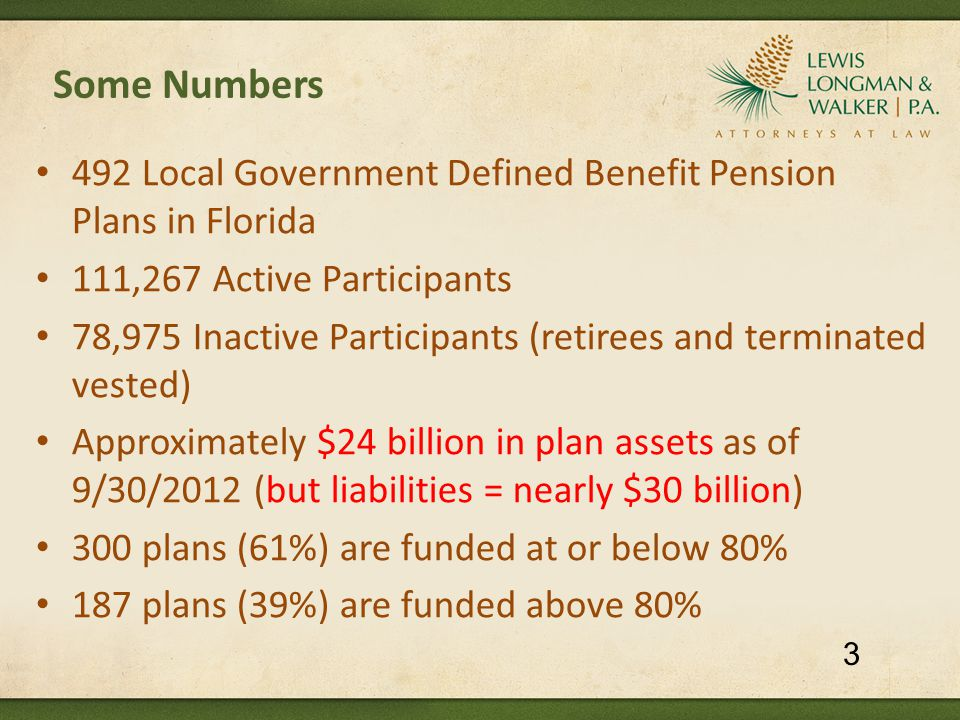 Some Numbers 492 Local Government Defined Benefit Pension Plans in Florida 111,267 Active Participants 78,975 Inactive Participants (retirees and terminated vested) Approximately $24 billion in plan assets as of 9/30/2012 (but liabilities = nearly $30 billion) 300 plans (61%) are funded at or below 80% 187 plans (39%) are funded above 80% 3