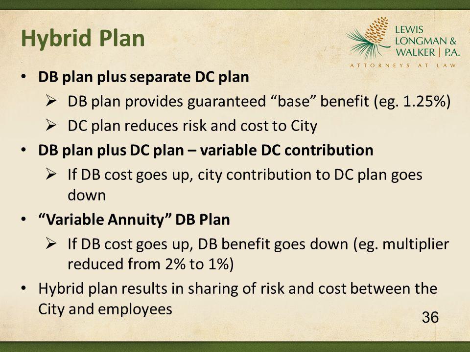 Hybrid Plan DB plan plus separate DC plan  DB plan provides guaranteed base benefit (eg.