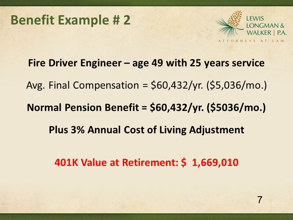 Pension Reform: What Florida Cities Have Done Sarasota (2011) – Police [City Commission took final action to resolve impasse on 10/17/11; implemented July 2012] Pension changes for current and future employees:  5 year final averaging period (was 3 years)  Reduce COLA from 3.2% beginning one year after retirement to 1.0% beginning at age 65  Overtime pay included in pensionable earnings limited to 300 hours per year  Standard form of benefit: 10 years certain & life (was 67% automatic spouse survivor benefit for life of spouse)  Reduce DROP interest to 2.0% (was 6.5%) 48