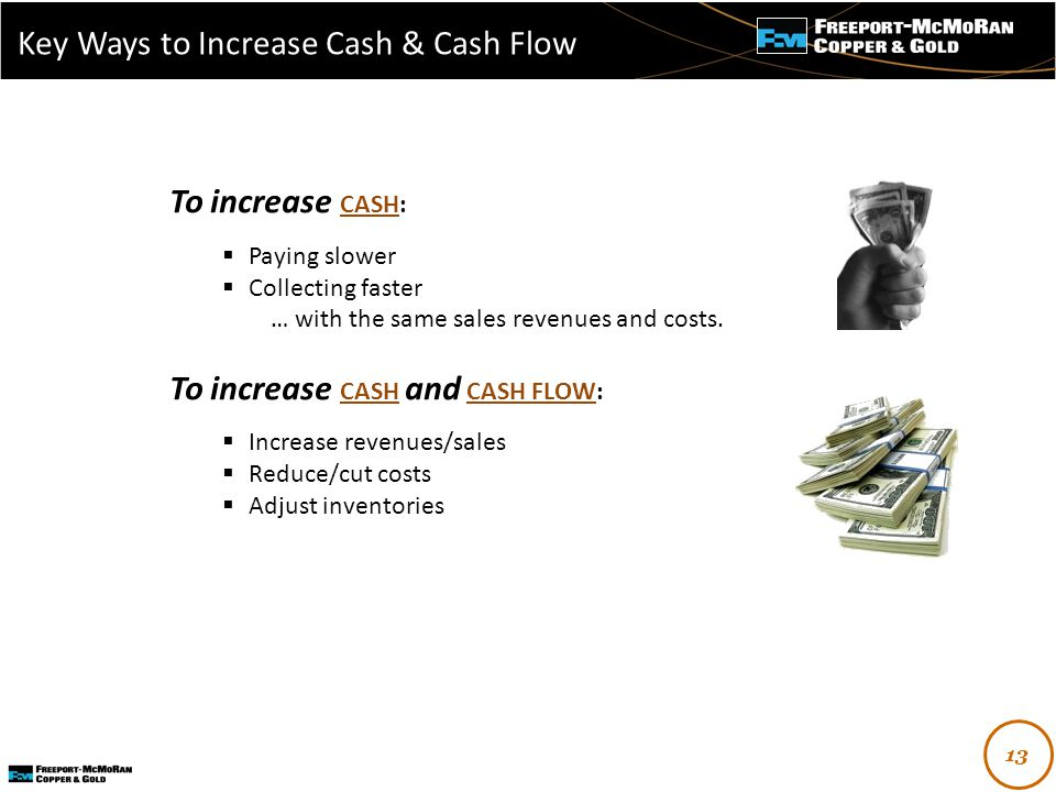 - To increase CASH:  Paying slower  Collecting faster … with the same sales revenues and costs.