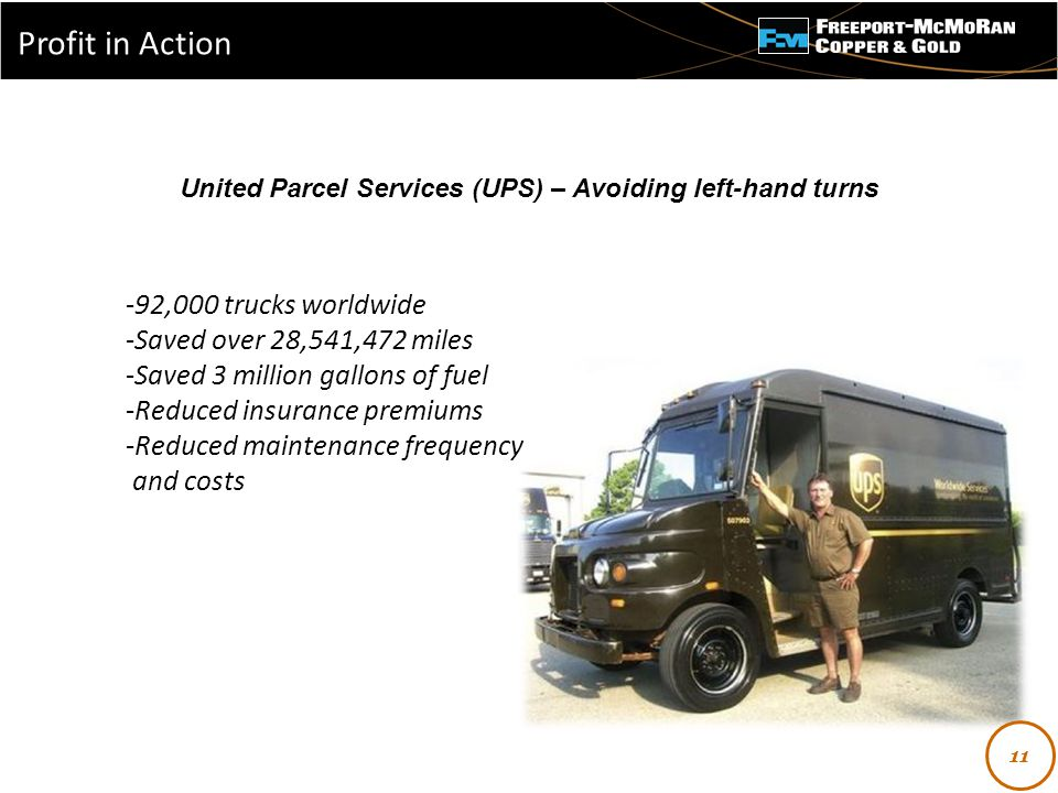 - 11 United Parcel Services (UPS) – Avoiding left-hand turns -92,000 trucks worldwide -Saved over 28,541,472 miles -Saved 3 million gallons of fuel -Reduced insurance premiums -Reduced maintenance frequency and costs Profit in Action