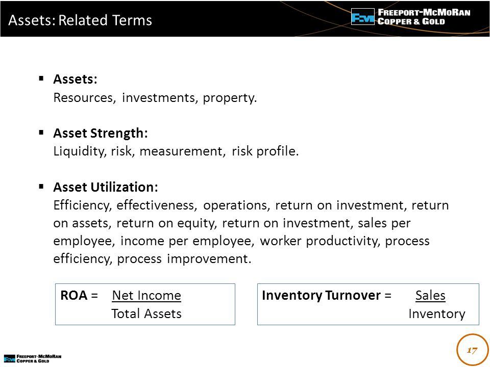 -  Assets: Resources, investments, property.
