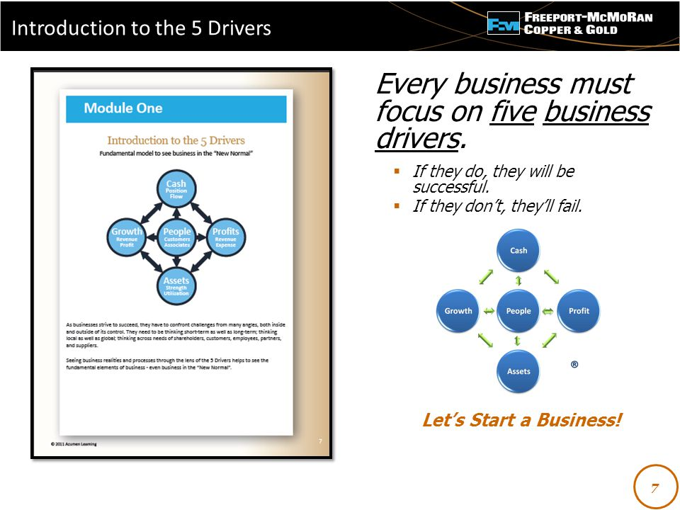 - Every business must focus on five business drivers.  If they do, they will be successful.  If they don't, they'll fail. Let's Start a Business! 7