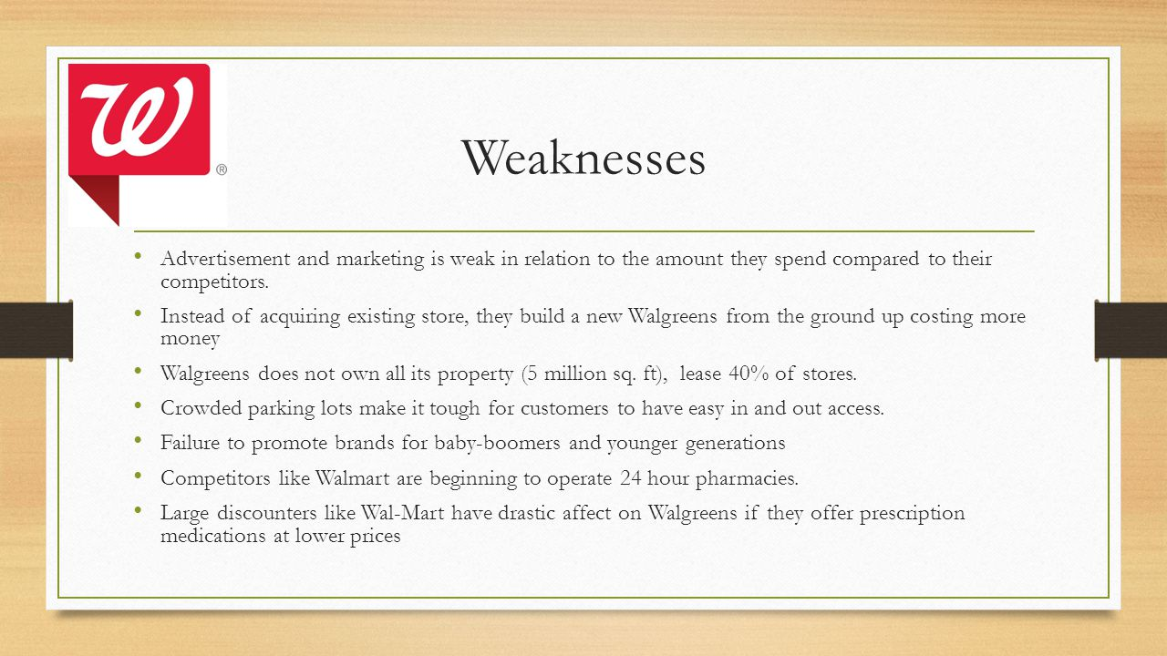 Weaknesses Advertisement and marketing is weak in relation to the amount they spend compared to their competitors.