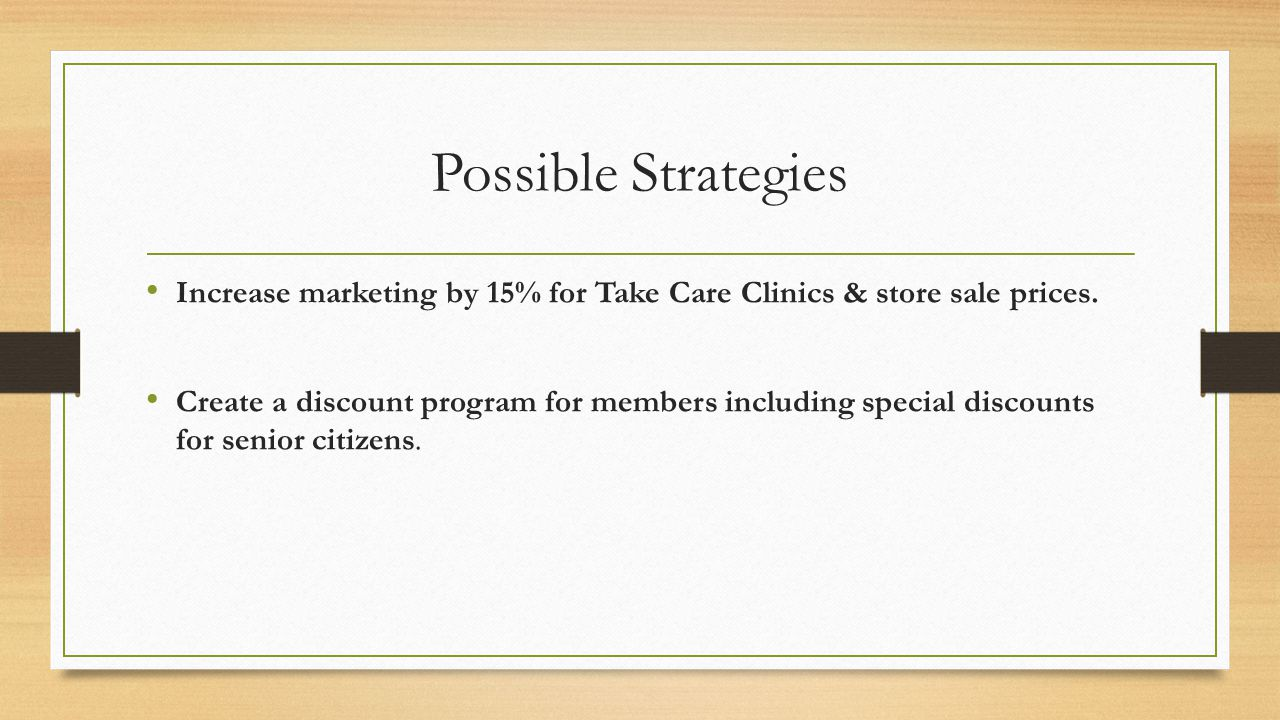 Possible Strategies Increase marketing by 15% for Take Care Clinics & store sale prices.
