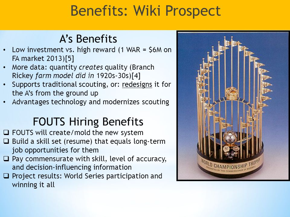 Benefits: Wiki Prospect A's Benefits Low investment vs.