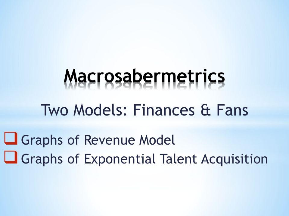 Two Models: Finances & Fans  Graphs of Revenue Model  Graphs of Exponential Talent Acquisition