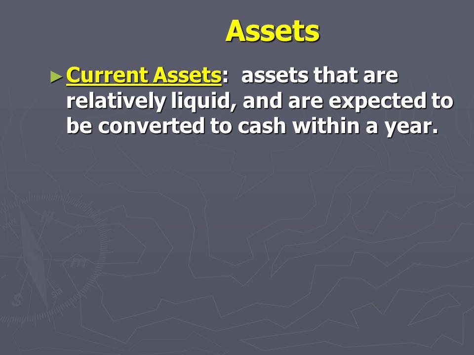 Balance Sheet Assets Liabilities (Debt) & Equity Current Assets Current Assets Cash Cash Marketable Securities Marketable Securities Accounts Receivab