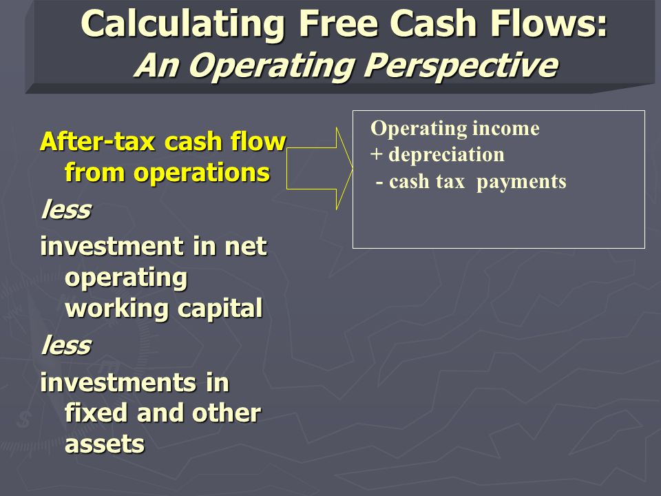 Calculating Free Cash Flows: An Operating Perspective After-tax cash flow from operations less investment in net operating working capital less investments in fixed and other assets