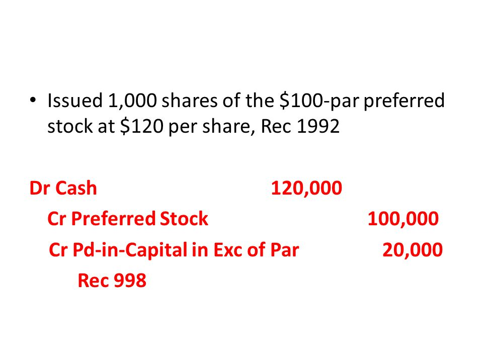 Dr Cash120,000 Cr Preferred Stock 100,000 Cr Pd-in-Capital in Exc of Par 20,000 Rec 998