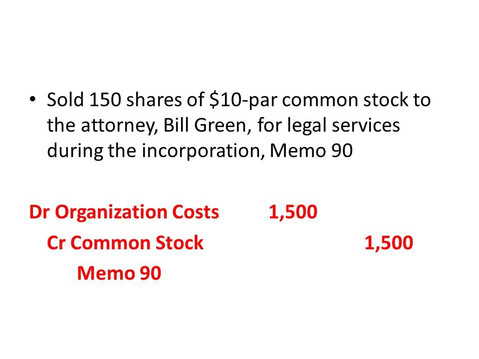 Dr Organization Costs1,500 Cr Common Stock 1,500 Memo 90