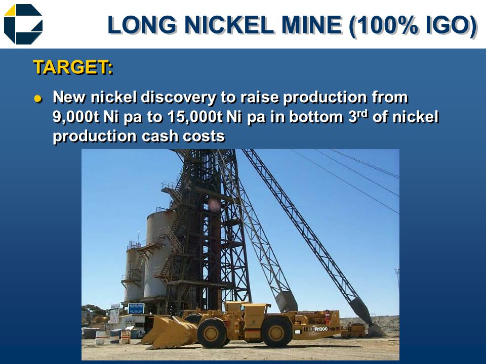 LONG NICKEL MINE (100% IGO) &New nickel discovery to raise production from 9,000t Ni pa to 15,000t Ni pa in bottom 3 rd of nickel production cash costs TARGET: