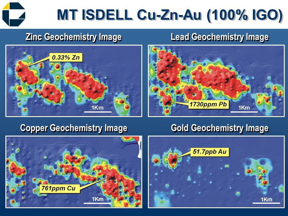 MT ISDELL Cu-Zn-Au (100% IGO) Gold Geochemistry Image Copper Geochemistry Image Lead Geochemistry Image Zinc Geochemistry Image