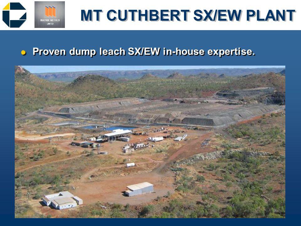 MT CUTHBERT SX/EW PLANT &Proven dump leach SX/EW in-house expertise.
