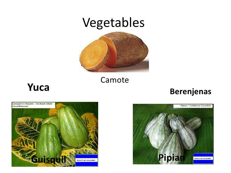 Vegetables Guisquil Pipian Yuca Berenjenas Camote