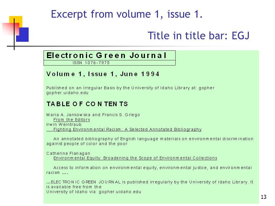 12 Back issues screen URL http://egj.lib.uidaho.edu/backis.html