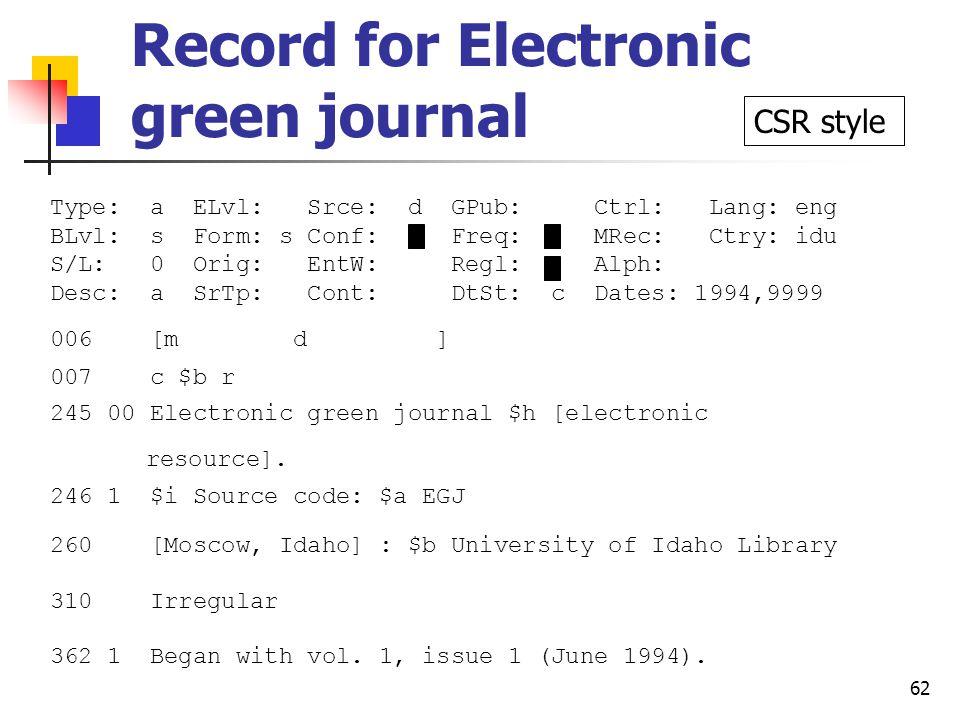 61 856 fields for Electronic green journal 856 00 $3 E-mail subscription to receive announcements and tables of contents of new issues $u mailto:majordomo@uidaho.edu $f EGJ $i subscribe egjtoc [your email address] 856 10 $u ftp://www.lib.uidaho.edu/pub/egj $l anonymous $z Each issue is a separate file 856 40 $u http://egj.lib.uidaho.edu/index.html