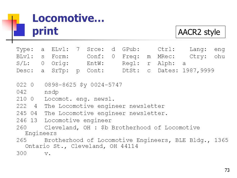 72 Locomotive… e-version, cont. 500 Description based on: Vol.