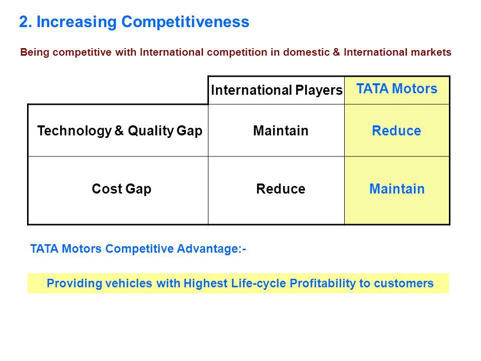 2. Increasing Competitiveness Technology & Quality Gap Cost Gap International Players Maintain Reduce TATA Motors Competitive Advantage:- Providing ve