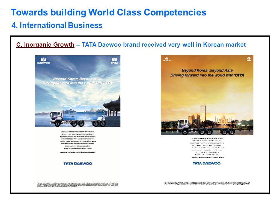 Towards building World Class Competencies 4. International Business C. Inorganic Growth – TATA Daewoo brand received very well in Korean market
