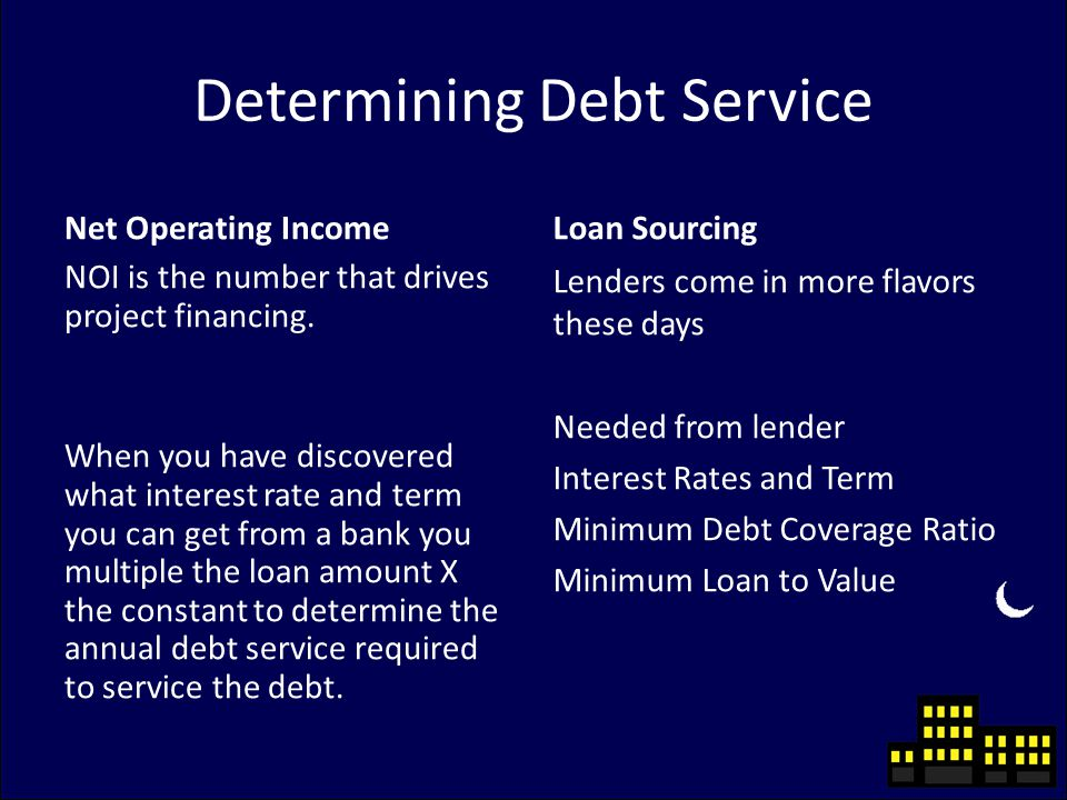 Determining Debt Service Net Operating Income NOI is the number that drives project financing.