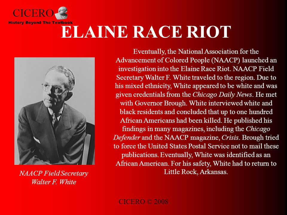 CICERO © 2008 ELAINE RACE RIOT Eventually, the National Association for the Advancement of Colored People (NAACP) launched an investigation into the Elaine Race Riot.