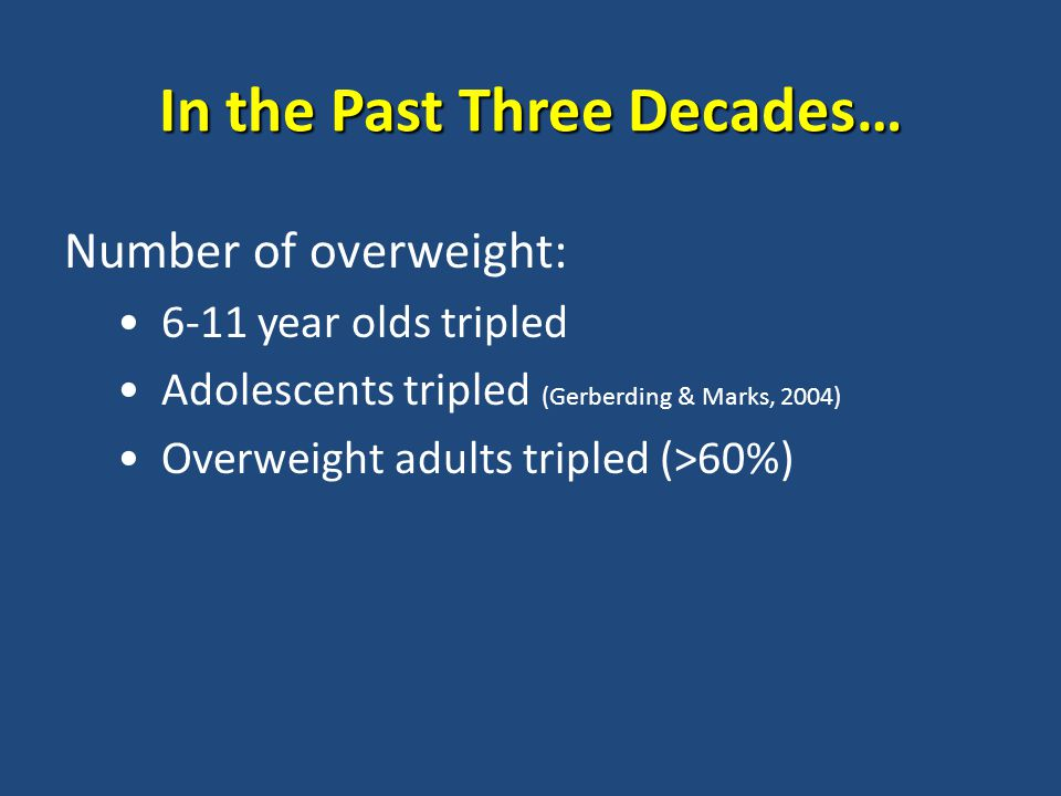 In the Past Three Decades… Number of overweight: 6-11 year olds tripled Adolescents tripled (Gerberding & Marks, 2004) Overweight adults tripled (>60%)