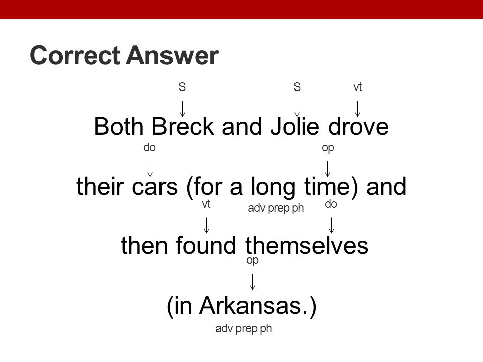 Correct Answer Both Breck and Jolie drove their cars (for a long time) and then found themselves (in Arkansas.) vt op adv prep ph Svt do S adv prep ph