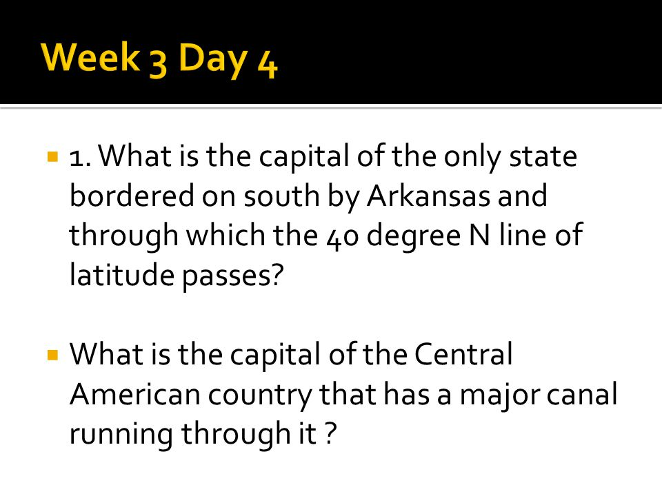  1. What is the capital of the only state bordered on south by Arkansas and through which the 40 degree N line of latitude passes?  What is the capi