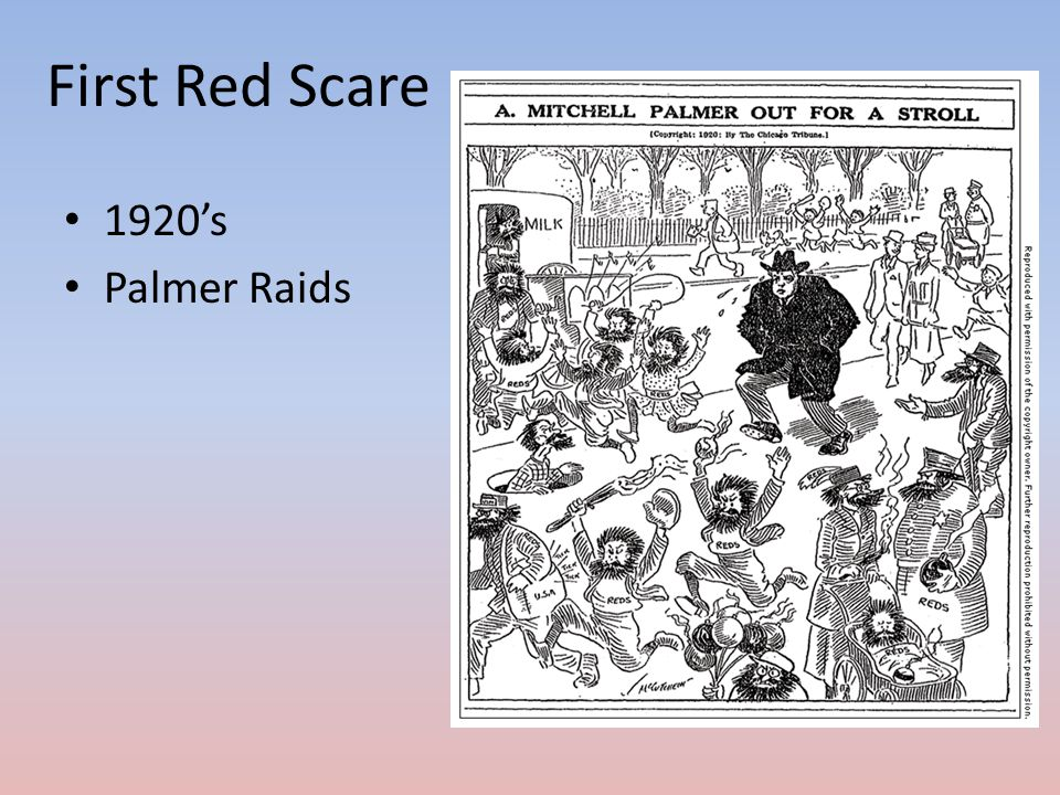 First Red Scare 1920's Palmer Raids