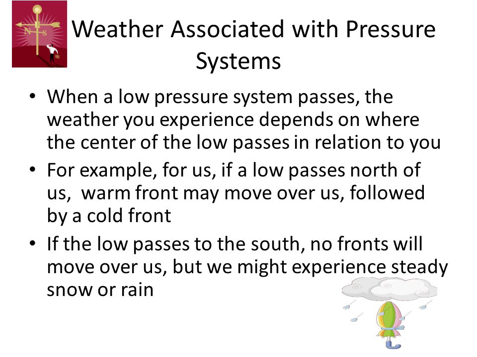 Weather Associated with Pressure Systems When a low pressure system passes, the weather you experience depends on where the center of the low passes i