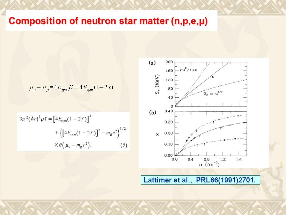 Lattimer et al., PRL66(1991)2701. Composition of neutron star matter (n,p,e,μ)