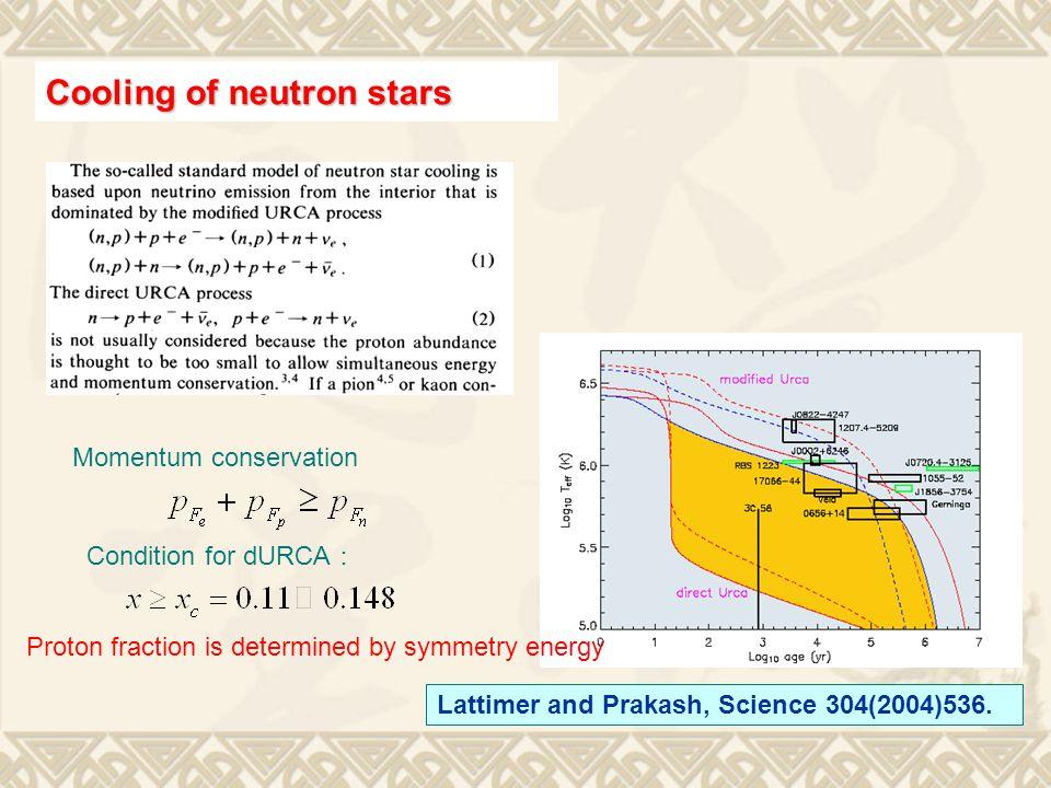 Lattimer and Prakash, Science 304(2004)536.
